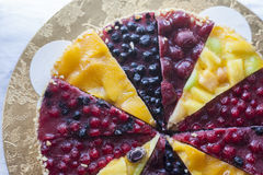 Tart with frozen berries and fruits Royalty Free Stock Photo