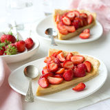 Tart with Greek yogurt and fresh strawberries Royalty Free Stock Image