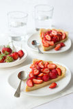 Tart with Greek yogurt and fresh strawberries Stock Photo
