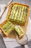 Tart with Green Asparagus Stock Photography