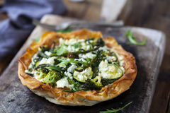 Tart with green vegetable Royalty Free Stock Photo