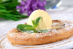 Tart with ice cream Royalty Free Stock Image