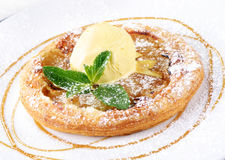 Tart with ice cream Stock Images