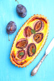 Tart of pastry with plums Royalty Free Stock Photo