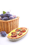Tart of pastry with plums Royalty Free Stock Photos