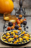 Tart with peach, pumpkin, plum and blueberry Stock Images