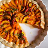 Tart with peaches and apricots Royalty Free Stock Image