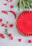 Tart, pie, cake with jellied and fresh raspberry on the light concrete background. Top view. Sweet food photo concept Royalty Free Stock Images