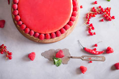Tart, pie, cake with jellied and fresh raspberry on the light concrete background. Top view. Sweet food photo concept Stock Photos