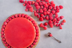 Tart, pie, cake with jellied and fresh raspberry on the light concrete background. Top view. Sweet food photo concept Royalty Free Stock Photos