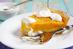 Tart with a pumpkin on plate Royalty Free Stock Images