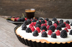Tart with raspberries and blackberries Stock Images