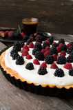 Tart with raspberries and blackberries Royalty Free Stock Photo