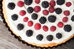 Tart with raspberries and blackberries Royalty Free Stock Image