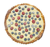 Tart with raspberries, blueberries, vanilla custard and sugar powder ...