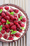 Tart with raspberries Stock Image