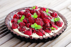 Tart with raspberries Royalty Free Stock Photo