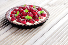 Tart with raspberries Stock Photo