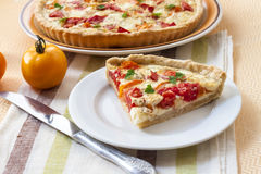 Tart with salted sheep cheese and tomatoes Royalty Free Stock Photo