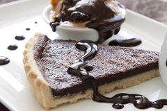 Tart Slice With Chocolate Sauce Royalty Free Stock Images