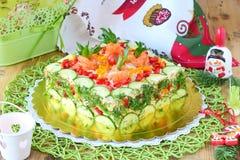 Tart of smoked salmon, cucumber,cheese,tomato Royalty Free Stock Image