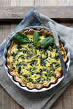 Tart with spinach and feta cheese Stock Photos