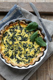 Tart with spinach and feta cheese Royalty Free Stock Photography