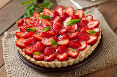 Tart with strawberries and whipped cream Stock Photography