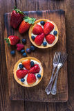 Tart with strawberry and blueberry fruits Stock Photo