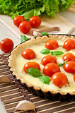 Tart with tomato and cheese Stock Image