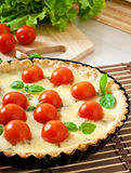 Tart with tomato and cheese Stock Images