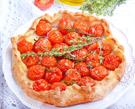 Tart with tomatoes. And herbs Royalty Free Stock Images