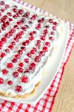 Tart with whipped cream and fresh cranberries Stock Photos