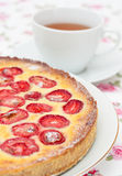 Tart with white chocolate and strawberries Stock Image