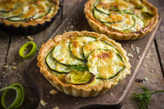Tart with zucchini, leek and cheese Stock Image