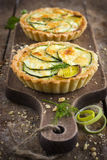 Tart with zuccini, leek and cheese Stock Photo