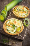 Tart with zuccini, leek and cheese Royalty Free Stock Photo