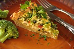 Tarta with broccoli. Tasty piece of vegetable tarta pia with broccoli, cheese and fresh parsley royalty free stock photos