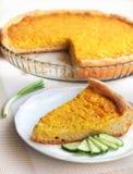 Tarta con las cebollas, el queso y la cúrcuma Fotos de archivo libres de regalías