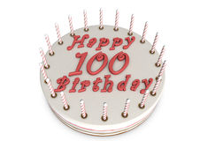 Tarta de crema para el 100o cumpleaños Fotografía de archivo