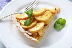 Tarta de la manzana deliciosa en una placa Imágenes de archivo libres de regalías