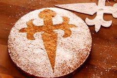 Tarta de Santiago - Almond Cake. Traditional Spanish cake Tarta de Santiago (Almond Cake royalty free stock photos