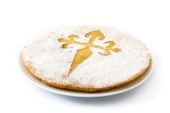Tarta de Santiago. Traditional almond cake from Santiago in Spain. Isolated on white background stock photos