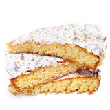 Tarta de Santiago, typical almond pie from Spain. Some pieces of Tarta de Santiago, typical almond pie from Spain, on a white background stock photos