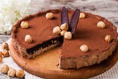 Tarta del chocolate con las avellanas foto de archivo libre de regalías