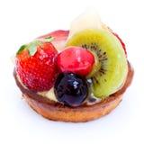 Tarta esmaltada de la fruta y de las natillas Imagen de archivo
