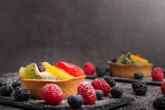 Tarta hecha en casa de la fruta Fotografía de archivo