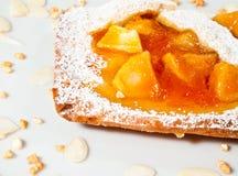 Tarta hecha en casa de la manzana y del albaricoque fotos de archivo