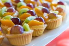 Tarta mezclada de las natillas de fruta fresca imagenes de archivo