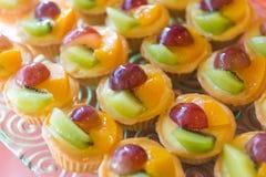Tarta mezclada de las natillas de fruta fresca imagen de archivo